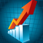 Business Graph mit Pfeil zeigt Gewinn — Stockvektor