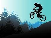 Mountain bike and biker in action vector — Stock Vector