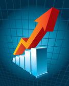 Graphique d'entreprise avec flèche montrant les bénéfices — Vecteur