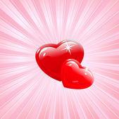 Vector heart background in red — Stock Vector