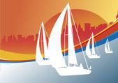 Sailing boat regate vector background — Stock Vector