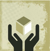 Hands and vintage cube — Stock Vector