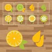 Lemon button set vector — Stock Vector