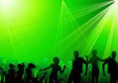Crowd dancing in club green burst — Stock Vector