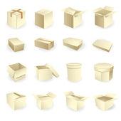 Boş kutular. kutu paket vektör — Stok Vektör