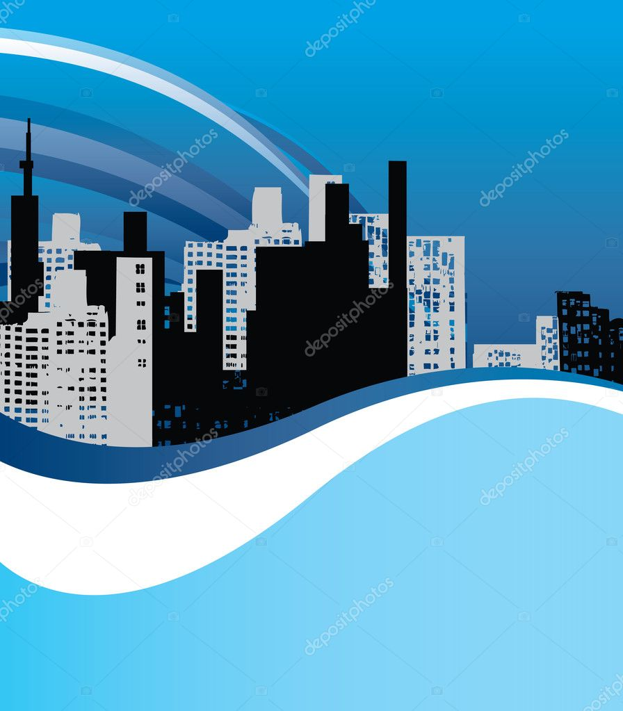 Blue city background for poster or card  Stock Vector #2821643