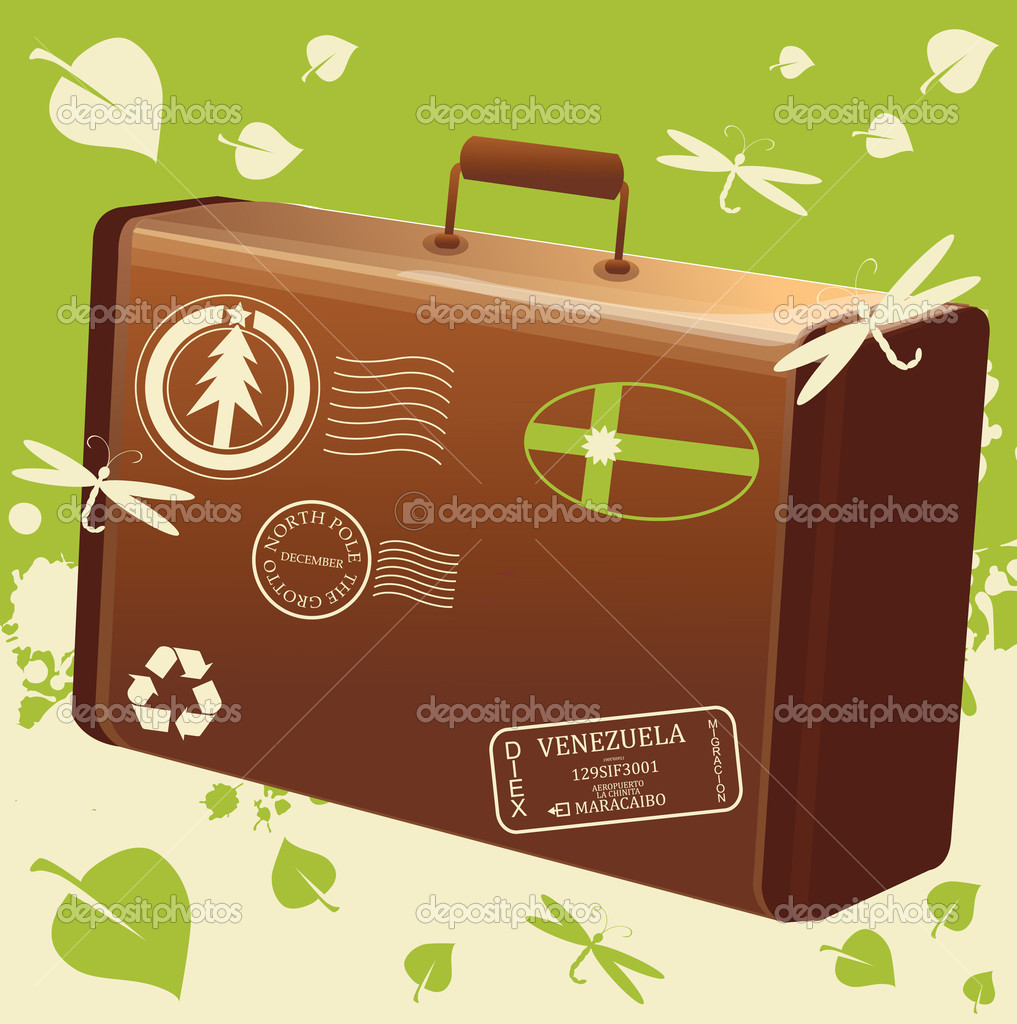 Vector traveling bag eco for poster or card — Stock Vector #2826090