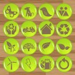 Glossy ecology eco icon set vector — Imagen vectorial