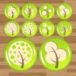 Royalty-Free Stock Vector Image: Trees eco glossy wood icon set vector