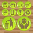 Glossy safety fragile icon set vector - Stock Vector