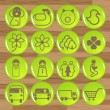 Stock Vector: Glossy ecology eco icon set vector