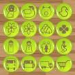 Glossy ecology eco icon set vector — Stock Vector