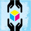Royalty-Free Stock Vector Image: Hands and giving receiving CMYK cube