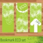 Green floral eco bookmark vector — Stock Vector