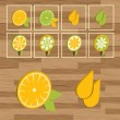 Lemon button set vector — Vettoriali Stock