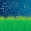 Green grass and stars vector background — Stock Vector