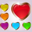 Colorful heart shaped glass vector — Stock Vector