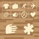 przycisk eco znaki drewna wektor — Wektor stockowy