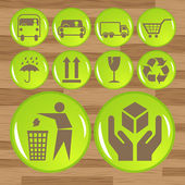 Glossy safety fragile icon set vector — Stock Vector