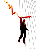 Businessman holding stability of chart — Vector de stock