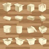 Caixas em branco. vetor de pacote de caixa — Vetorial Stock