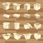 Cases vides. vecteur de paquet de boîte — Vecteur