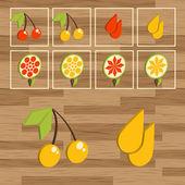 Button set - cherry fruit vector — Stock Vector