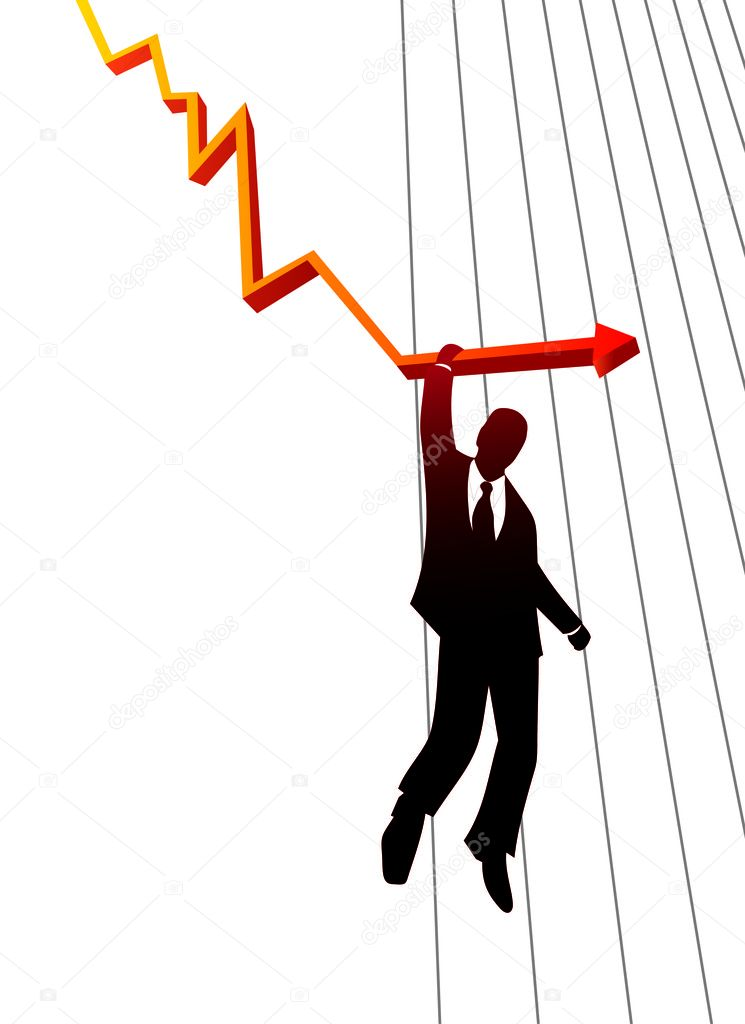 Silhouette of business man falling with the collapse of the economy — Stock Vector #2886340