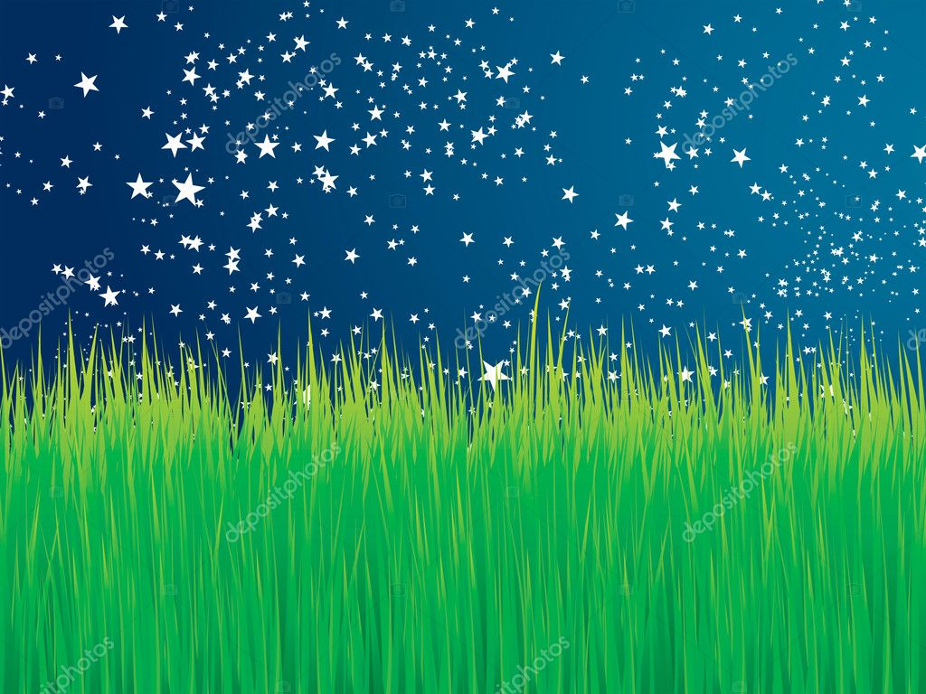 Green grass and stars vector background for poster or card — Stock Vector #2886360