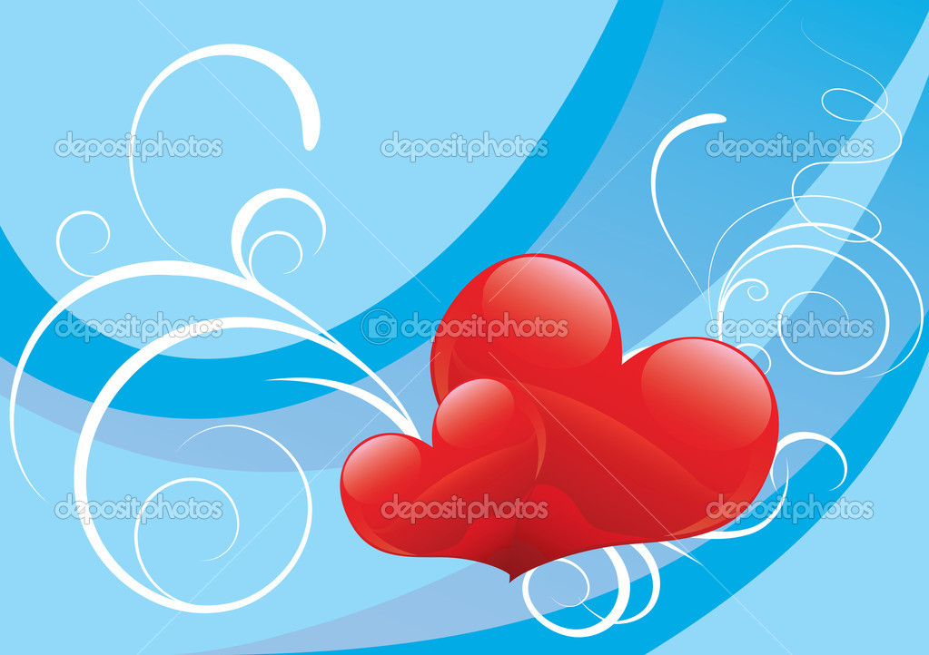 Glossy Red heart background vector for poster or card — Stock Vector #2886434