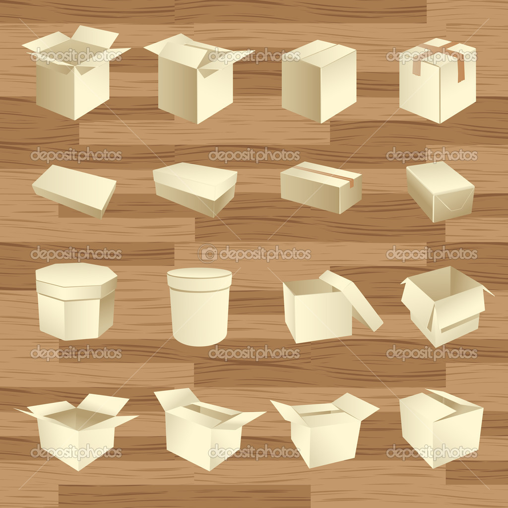 Blank boxes. Box package vector on wooden texture — Image vectorielle #2886440