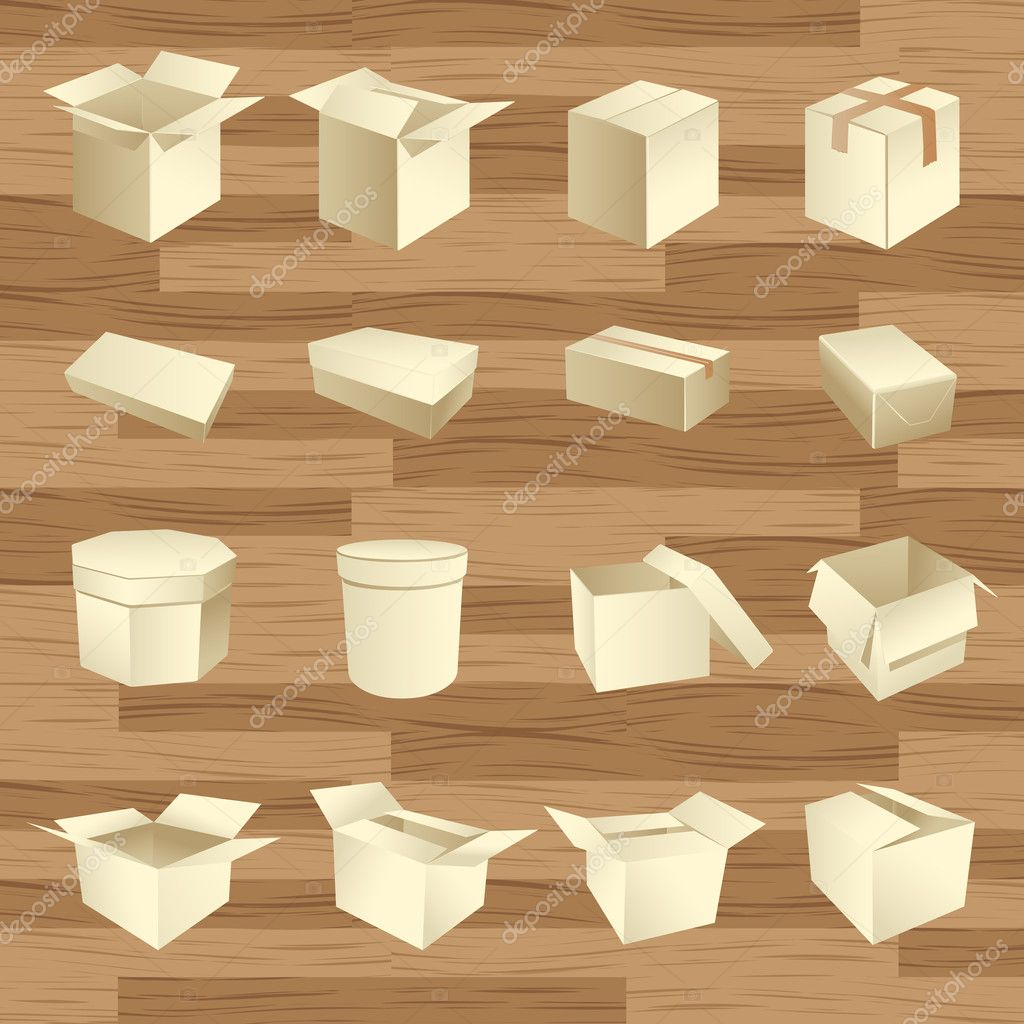 Blank boxes. Box package vector on wooden texture — Vektorgrafik #2886440