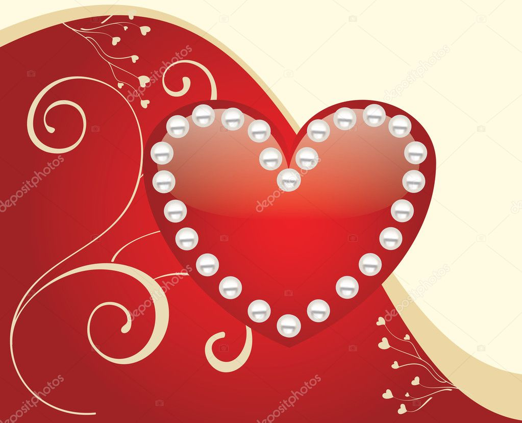 Glossy Red heart background vector for poster or card — Stock Vector #2887235