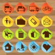 Stock Vector: Icon stickers- transport, tourism