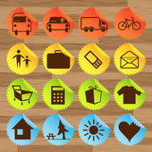 Icon stickers- transport, tourism — Stock Vector