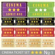 Stock Vector: Vintage cinemtickets for movie