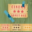 Vintage cinema tickets for movie — Stockvectorbeeld