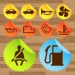 Car icon button set vector stickers — Stock vektor