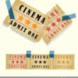 Old vintage paper cinema ticket set — Stock Vector