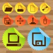 Office icon button vector set stickers — Stock Vector