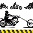 Chopper motorcycle vector set - Stock Vector