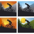 Mountain bike set with man and bike - Stock Vector
