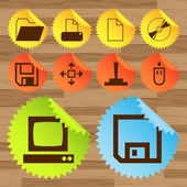 Office ikonen knappen vektor sätta klistermärken — Stockvektor