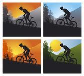 Mountain bike set with man and bike — Vettoriale Stock
