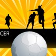 Soccer action players with ball vector — Stock Vector