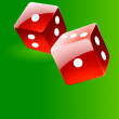 Rolling red glossy dices over green play — Image vectorielle