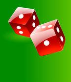 Voltearse dados rojos brillantes juego verde — Vector de stock