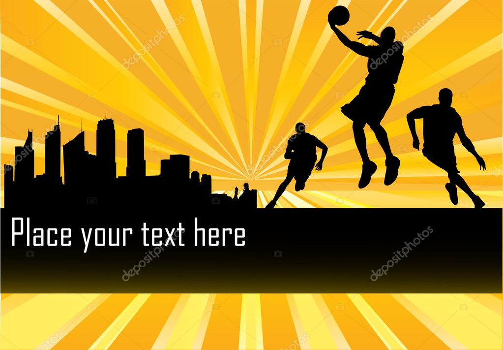 Vector Basketball Players in front of city with copy space  — Stock Vector #3059780