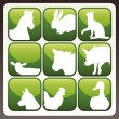 Farm animals vector icon button set — Stockvektor