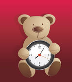 Bear toy holding clock vector background — Stock Vector